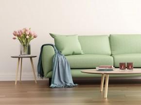 Žalia sofa svetainėje